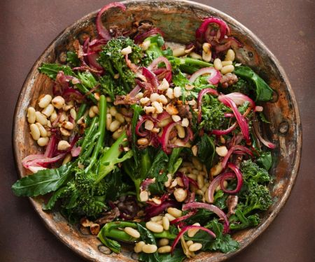 Bean and Broccoli Salad with Nuts