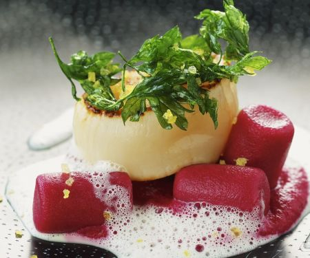 Beet Gnocchi with Scallops