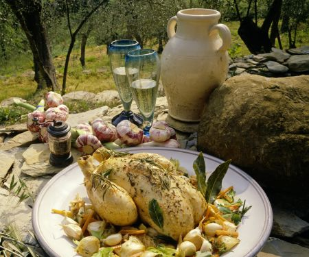 Braised Herb Chicken with Shallots and Garlic