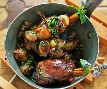 Braised Lamb Shanks with Jerusalem Artichokes
