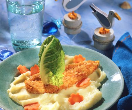 Breaded Fish Fillet on Mashed Potato
