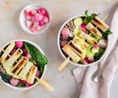 Buckwheat Bowl with White Asparagus Skewers
