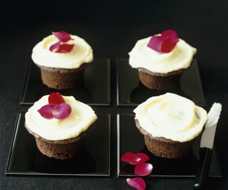 Buttercream Topped Chocolate Muffins