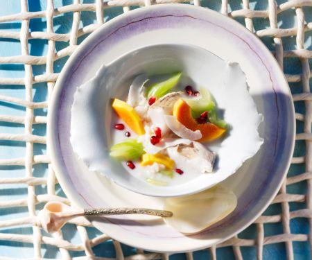 Caribbean Fish Pot with Papaya and Pomegranate