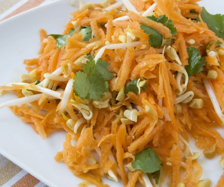 Carrot Salad with Peanuts, Sprouts and Cilantro