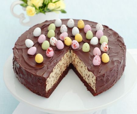 Cheesecake with Chocolate Chips and Chocolate Icing