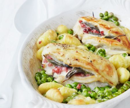 Chicken Breast Gratin with Peas and Gnocchi
