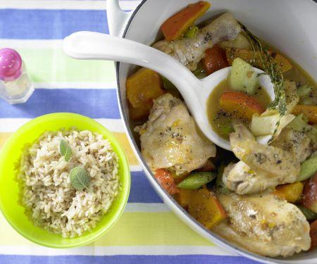 Chicken Stewed with Pumpkin