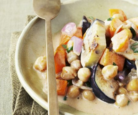 Chickpeas and Eggplant in Coconut Curry Sauce