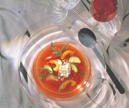 Chilled Tomato Consommé with Feta