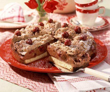 Chocolate and Cherry Cream Streusel Torte