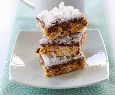 Chocolate Covered Almond, Coconut and Caramel Bars