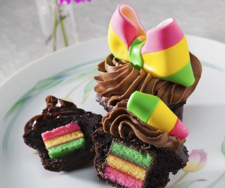 Chocolate Muffins with Multi-coloured Centres