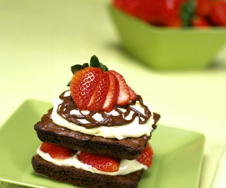 Chocolate Square Stacks with Berries