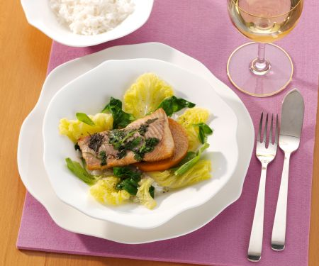 Cilantro Perch Fillet with Savoy Cabbage and Persimmons