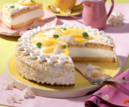 Coconut Cream Layer Cake with Sliced Mango