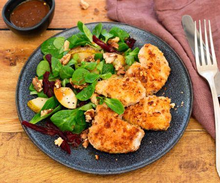 Coconut Crusted Chicken Escalope on Lamb's Lettuce (mache)