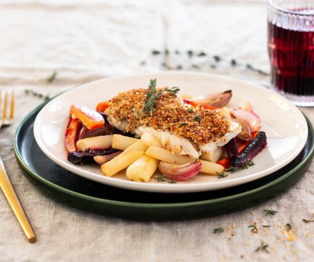 Cod with Mustard-almond Crust and Oven Vegetables