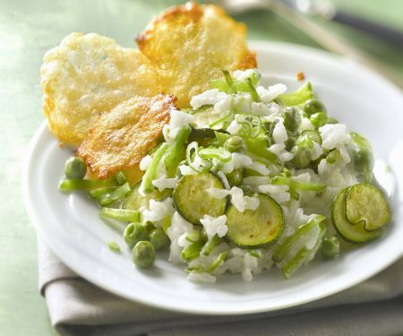 Courgette Rice with Cheese Crisps