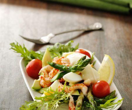Crawfish Salad with Asparagus, Egg and Avocado
