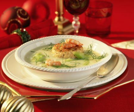 Creamy Celery Root Soup with Crab Cakes