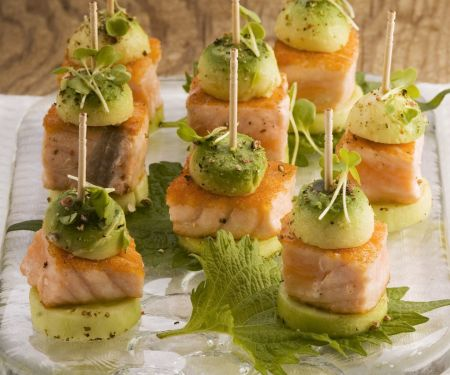 Cucumber and Salmon Appetizers with Avocado