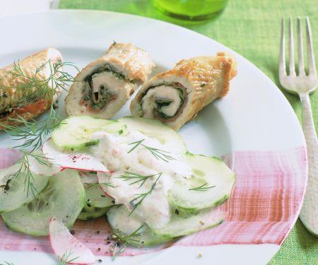 Cucumber-radish Salad with Turkey Rolls