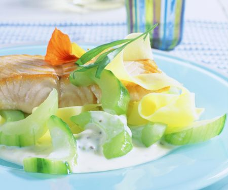 Cucumbers with Salmon and Tagliatelle