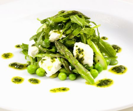 Dressed Asparagus with Goat Cheese