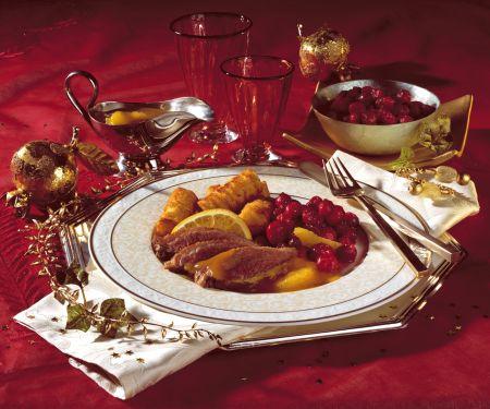 Duck à L'orange with Candied Cranberries