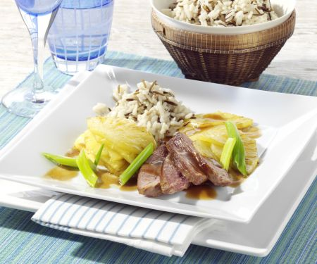 Duck Breasts with Pineapple and Rice