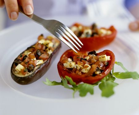 Eggplant and Bell Peppers Stuffed with Feta and Olives