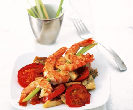 Eggplant and Tomatoes with Fried Prawns