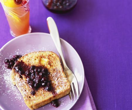 Eggy Toast with Blueberry Sauce