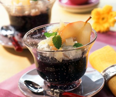 Elderberry Jelly with Pears and Cream
