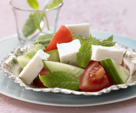 Feta Cheese with Tomato and Cucumber
