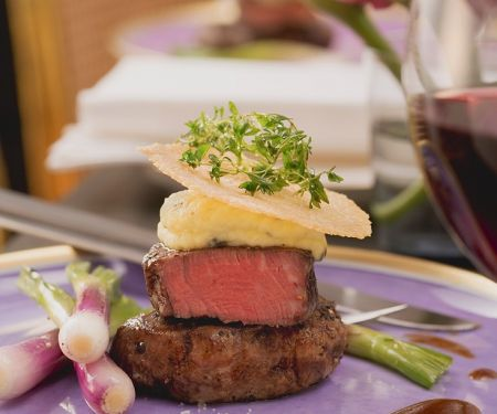 Filet of Beef with Potato Puree and Parmesan Chips