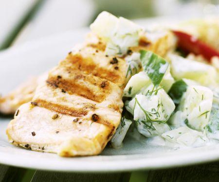 Fish Steak with Creamy Cucumber