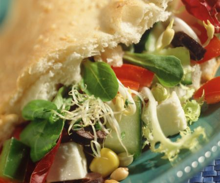 Flatbread Stuffed with Corn and Sprout Salad