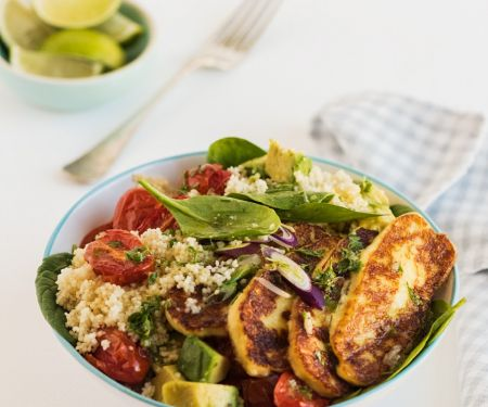 Fried Cheese with Couscous and Avocado