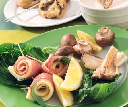 Fried Mushrooms and Ham Rolls