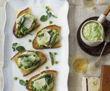 Garden Pea and Asparagus Toasts
