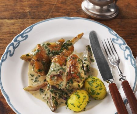 Golden Rabbit with Cream and Potatoes