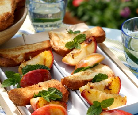 Grilled Bread, Nectarine and Mint Skewers