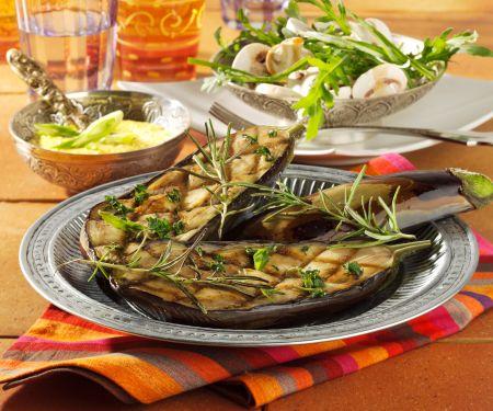 Grilled Eggplant with Mushroom Salad