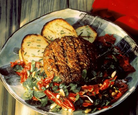 Grilled Lamb Burgers with Potatoes and Salad