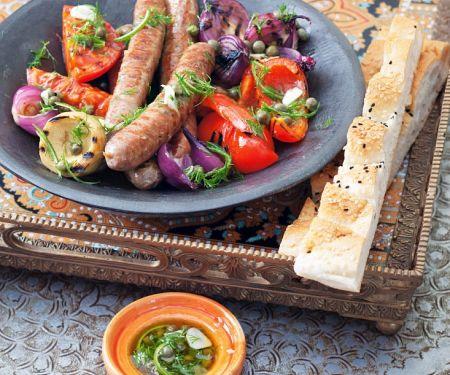 Grilled Merguez and Vegetables