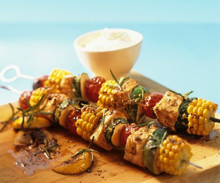 Grilled Turkey Vegetable Skewers with Tzatziki