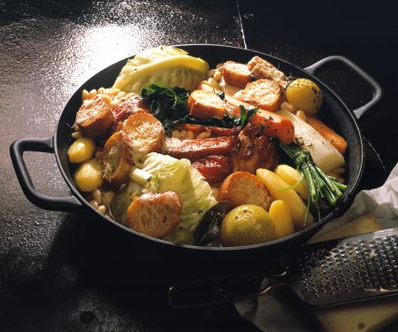Hearty Cabbage and Potato Stew with Cheese Crostini