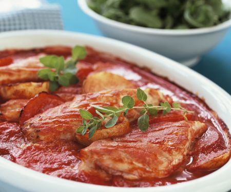 Herbed Fish, Potato and Tomato Casserole